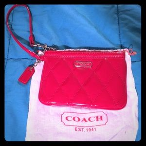 Coach red patent wristlet